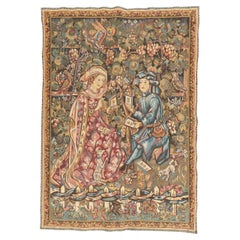 Pretty Vintage Aubusson Style Jaquar Tapestry