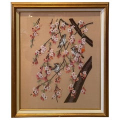 Pretty Vintage Framed Embroidery of Cherry Blossoms