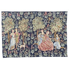 Pretty Vintage French Aubusson Style Halluin Jaquar Tapestry