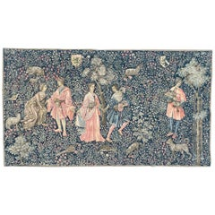 """Pretty Vintage French Hand Printed Tapestry Titled """"the danse"""""""