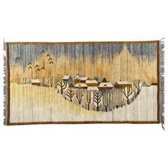 Pretty Vintage Polish Woven Tapestry by E. Oloksy