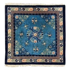 Pretty Vintage Square Art Deco Chinese Beijing Rug