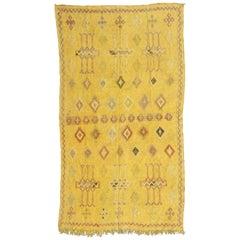 Pretty Vintage Tribal Silk Moroccan Kilim
