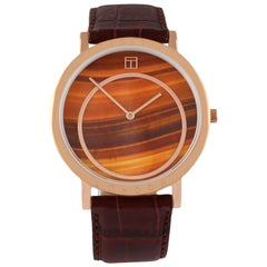 Prezioso Rose Gold IP and Tiger Eye Watch