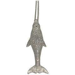 Priceless 6.0 Carat Diamond 18 Karat White Gold Dolphin Pendant Necklace