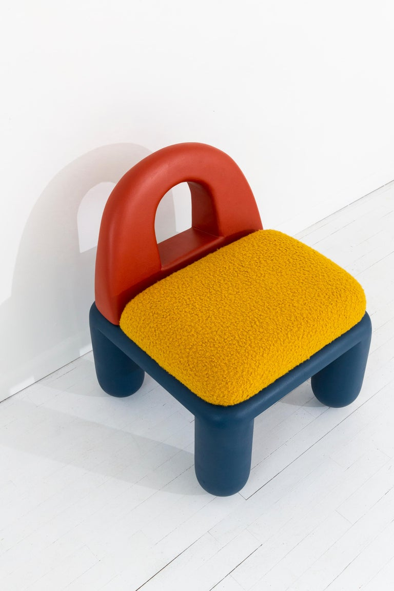 Modern Primary Colored Chubby Chair in Hand-Turned Poplar Wood with Bouclé Upholstery