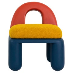 Primary Colored Chubby Chair in Hand-Turned Poplar Wood with Bouclé Upholstery