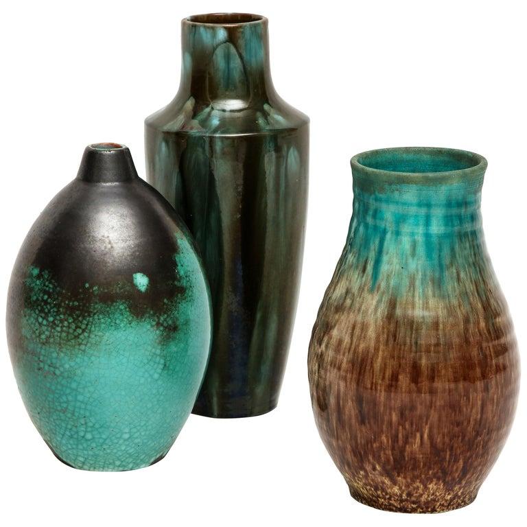 Primavera Accolay Massier Ceramic Green Black Vases, France, 1930s Midcentury For Sale