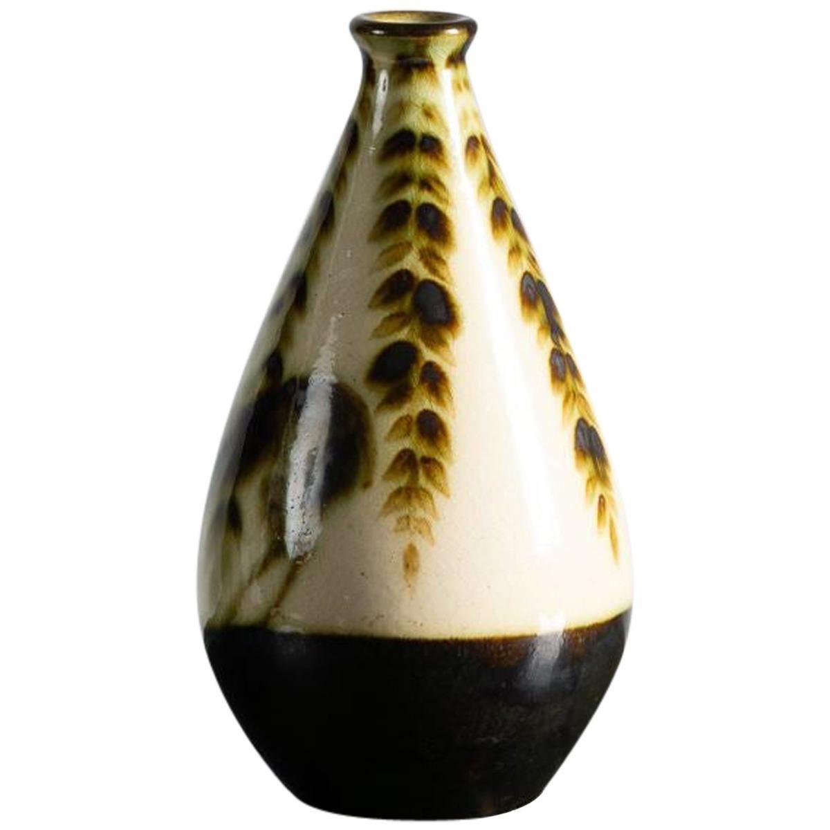 Primavera, Art Deco Glazed Ceramic Vase, France, circa 1930