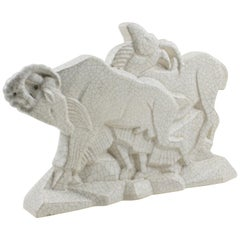Primavera Art Deco Cubist Crackle Ceramic Chamois Sculpture