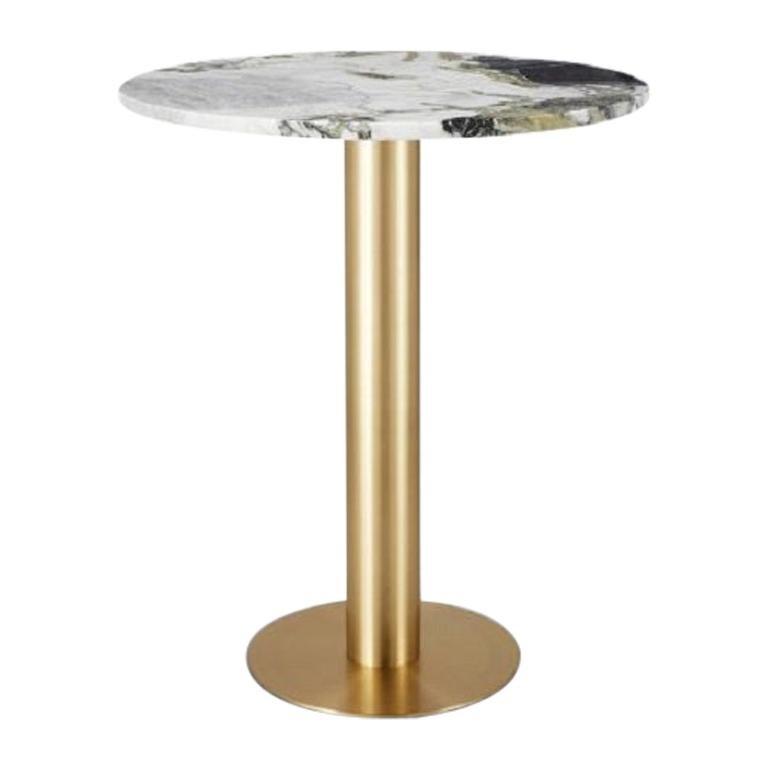 Primavera Marble Tube Chrome High Table
