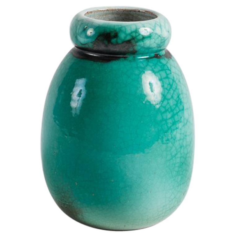 Primavera, Green Semi-Ovoid Art Deco Vase, France, Early 20th Century