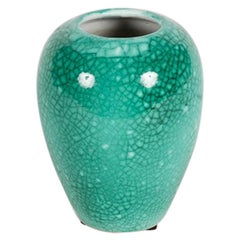 Primavera, Art Deco Speckled Green Ovoid Vase, France, circa Early 20th Century
