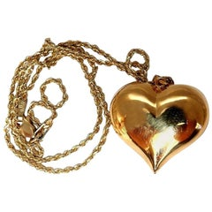 Prime Classic 14 Karat Gold Heart Necklace Charm Puff Domed