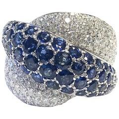 Primera Pave Set Sapphire and Diamond Crossover Ring