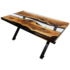 Primitive 180 Epoxy Resin Dining Table with Black X-Legs