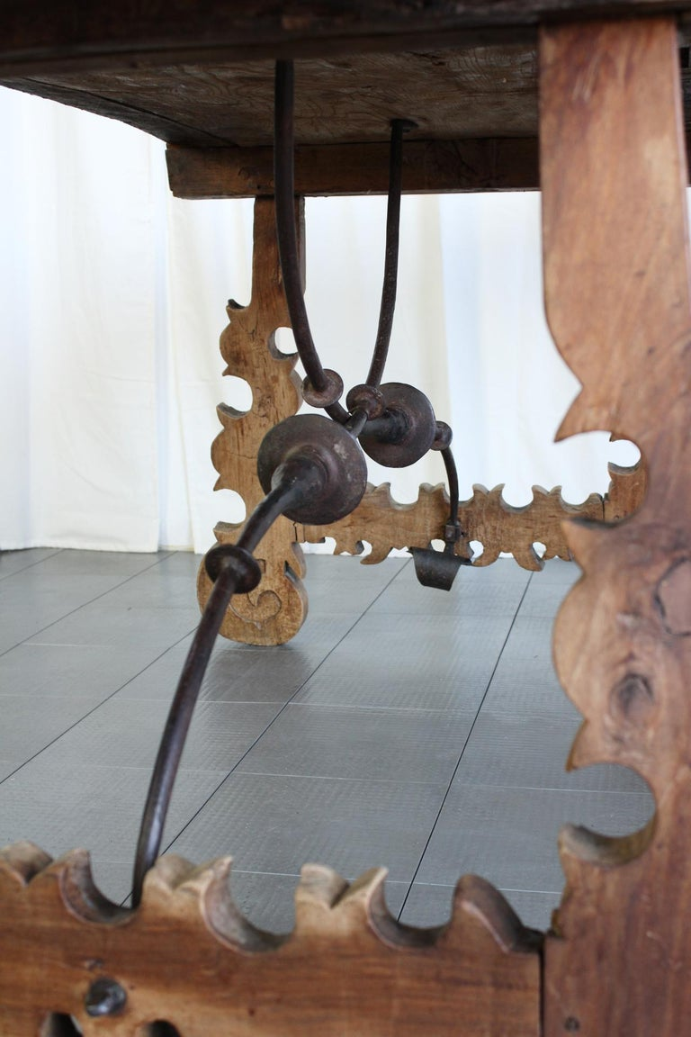 Primitive 18th Century Iron and Slab Walnut Dining Farm Table For Sale 5
