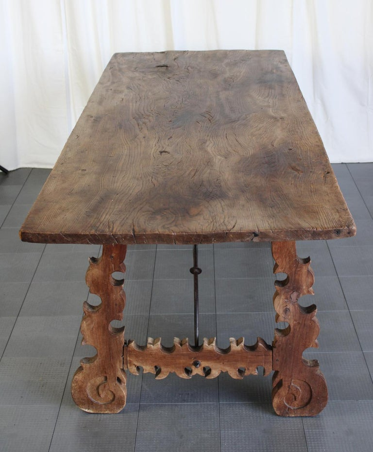 Primitive 18th Century Iron and Slab Walnut Dining Farm Table In Fair Condition For Sale In Las Vegas, NV