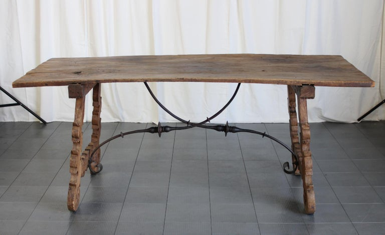 Primitive 18th Century Iron and Slab Walnut Dining Farm Table For Sale 2