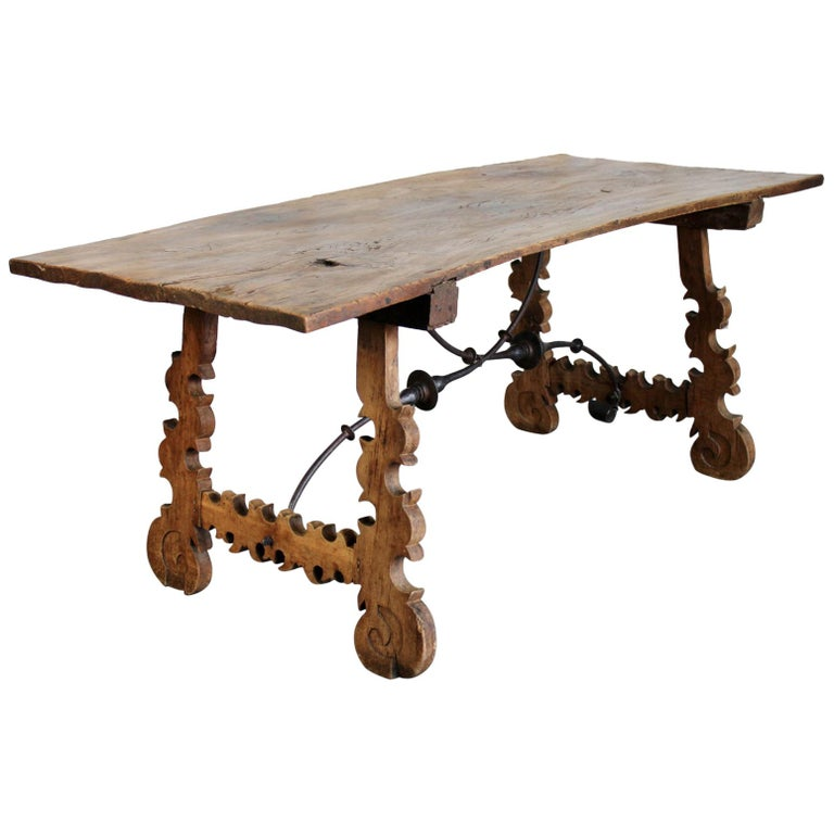 Primitive 18th Century Iron and Slab Walnut Dining Farm Table For Sale