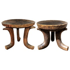 Primitive African Stools, Tripod Chairs