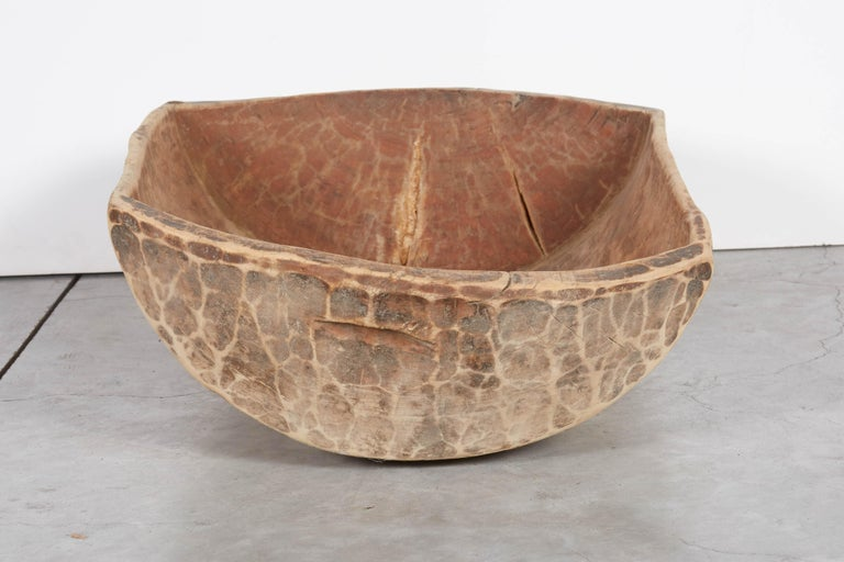 20th Century Primitive Antique Carved Bowl with Great Patina For Sale