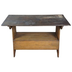 Primitive Antique Early American Style Rustic Pine Convertable Table Bench Seat