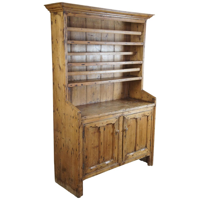 Primitive Antique English Pine China Hutch Rustic Farmhouse Bookcase Cupboard For Sale At 1stdibs