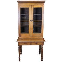 Primitive Antique Solid Walnut Plantation Desk Stepback Cabinet Hutch Bookcase