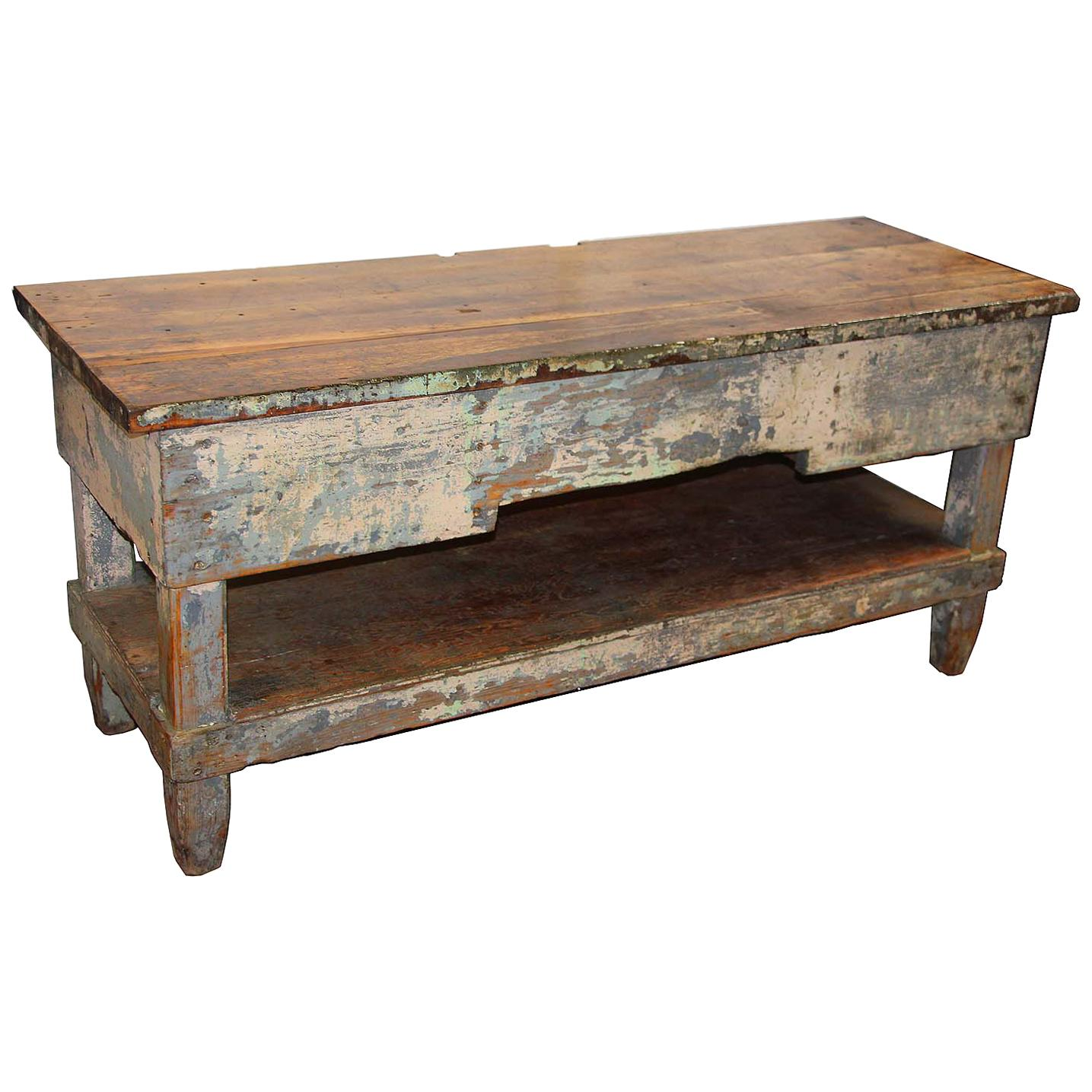 Primitive Wooden Worktable Or Console For Sale At 1stdibs