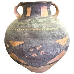 Primitive Archaic Handcrafted Large Ceramic Pottery Bowl Pot with Handles