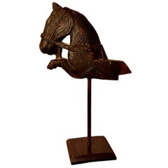 Primitive Architectural Carved Wood Mounted Indian Horse Head