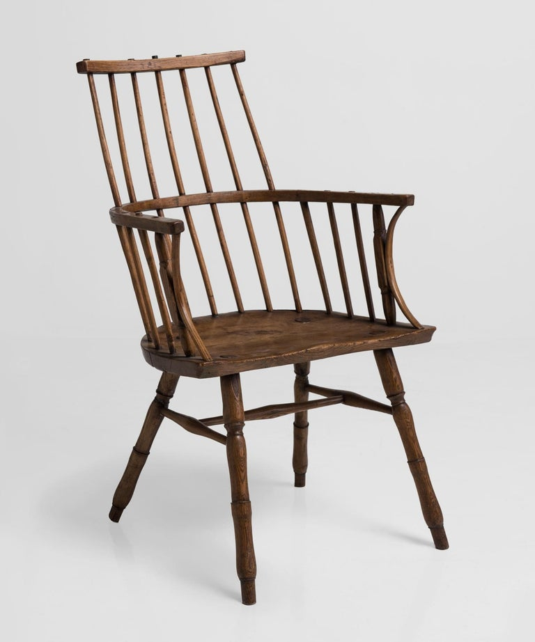 Primitive ash stick chair, England, 18th century.  Handcrafted Windsor chair with slab seat.