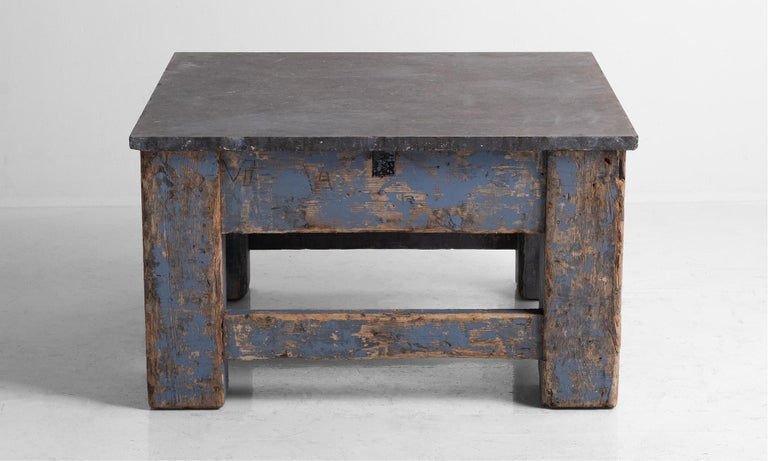 French Primitive Blue Stone Coffee Table For Sale