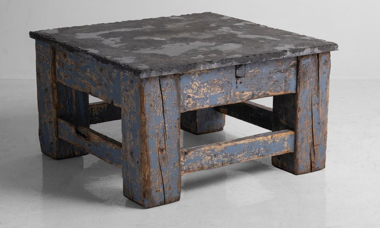 Primitive Blue Stone Coffee Table In Good Condition For Sale In Culver City, CA