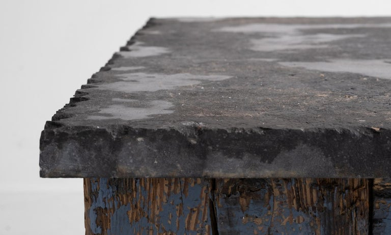 20th Century Primitive Blue Stone Coffee Table For Sale