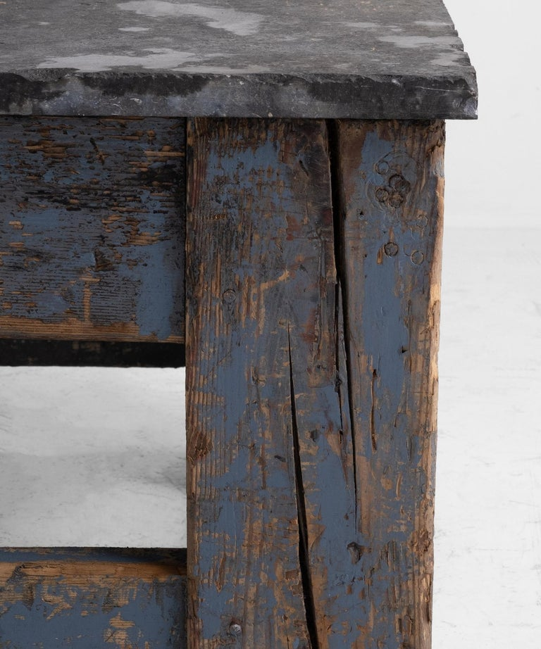 Primitive Blue Stone Coffee Table For Sale 1