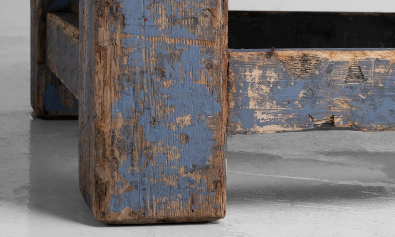 Primitive Blue Stone Coffee Table For Sale 4