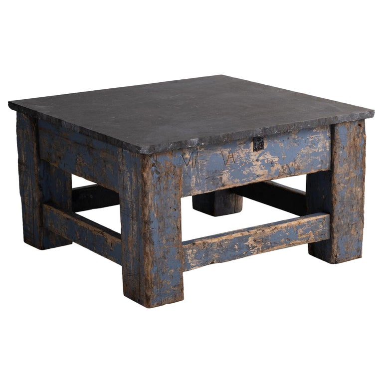 Primitive Blue Stone Coffee Table For Sale