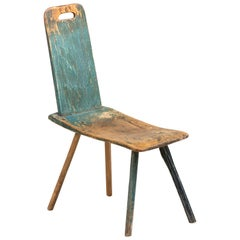 Primitive Blue Stool, France, circa 1860