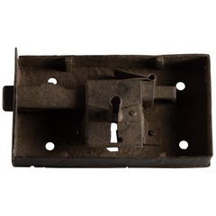 Primitive Box Shaped Handwrought Iron Lock with Its Key and Keyhole, Italy