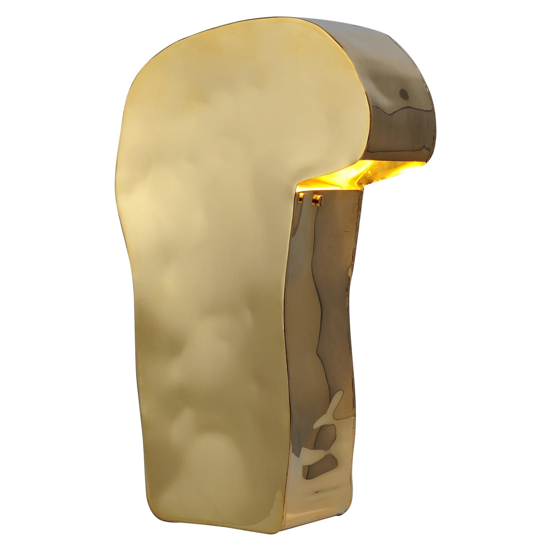 Primitive Brass Table Lamp, Signed by Lukasz Friedrich