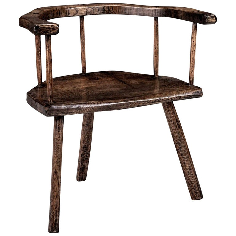 Primitive British Stick Chair Hand-Carved in Elm and Ash For Sale