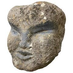 Primitive Carved Stone Fountain Head