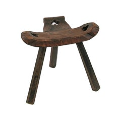 Primitive Carved Wood Milking Stool Tripod Chair