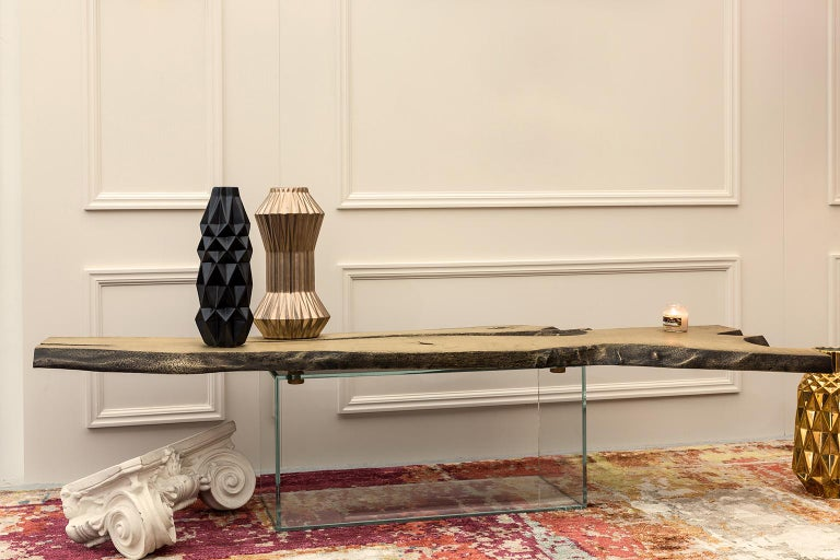 21st Century Primitive Center Table in Brushed Aged Brass and Glass Base In New Condition For Sale In Oporto, PT