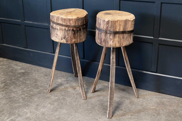 Hungarian Primitive Chopping Block End Tables For Sale