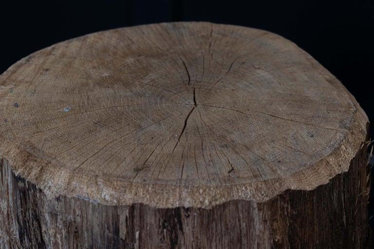 Hardwood Primitive Chopping Block End Tables For Sale