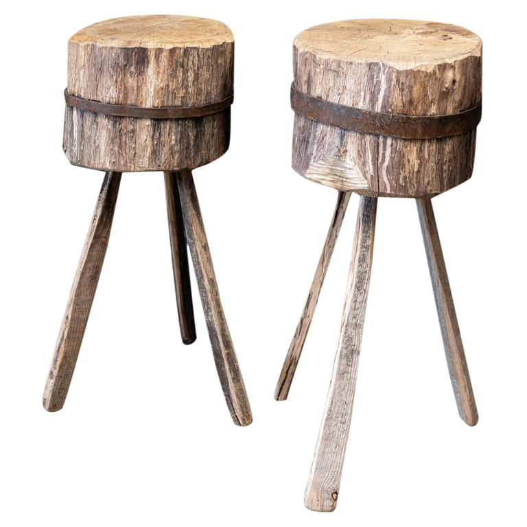 Primitive Chopping Block End Tables For Sale