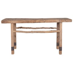 Primitive Console Table with Metal Accents